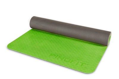 Yogamatte - lime & dark grey - ultraleicht & rutschfest