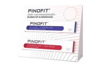 PINOFIT Sportsalben Verkaufsdisplay mit Platz für zwei Salben. Lieferung ohne Inhalt.